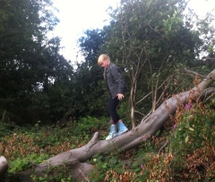 Niece in woods in Glasgow, walking distance from home