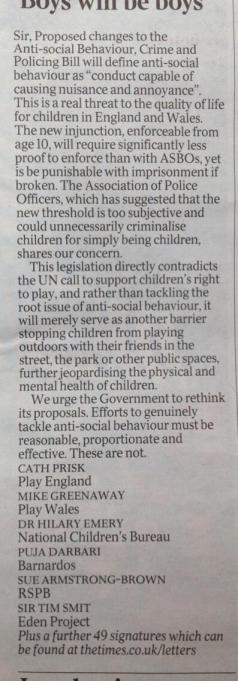 ASB letter in the Times
